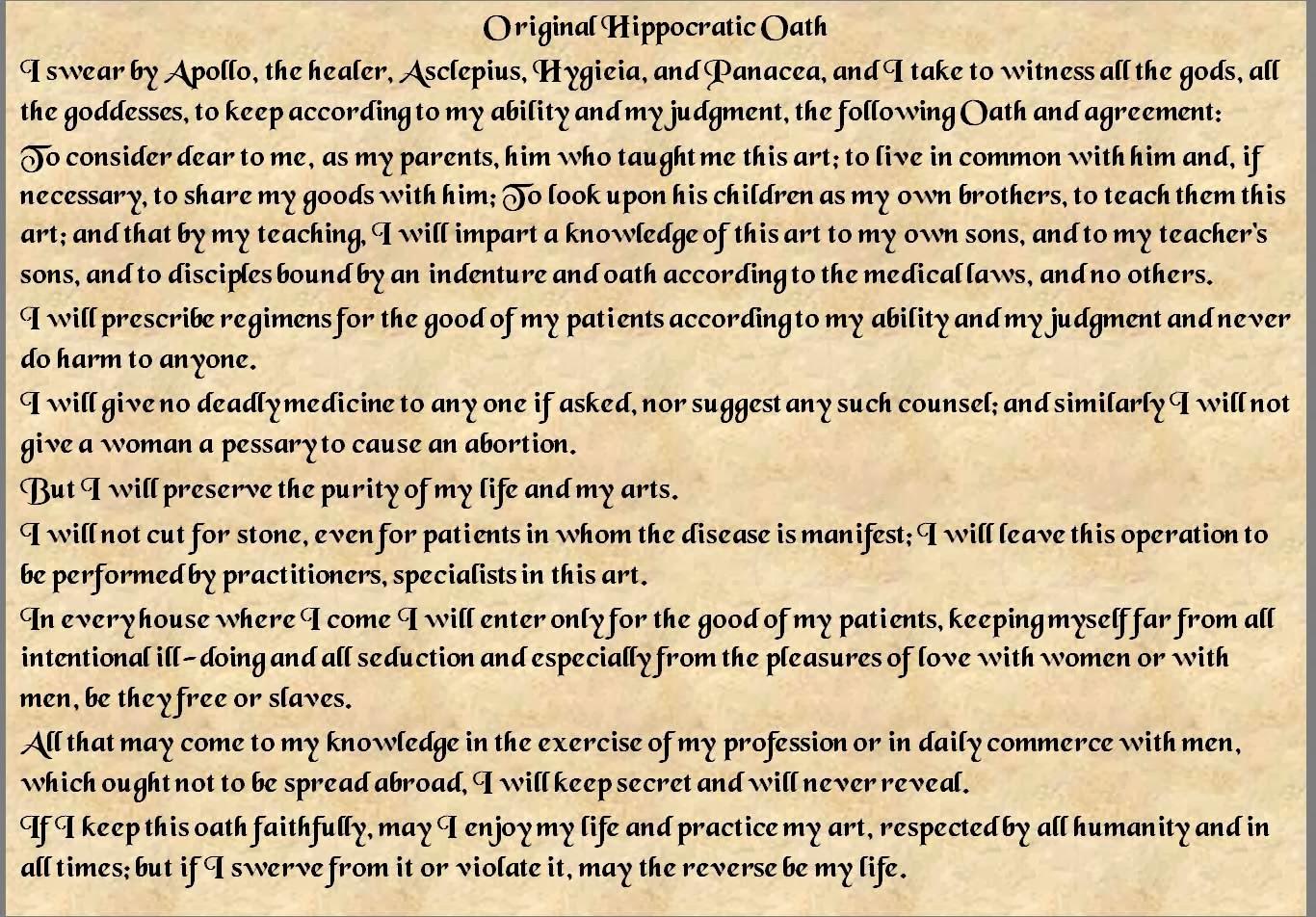 doctors hippocratic oath and euthanasia
