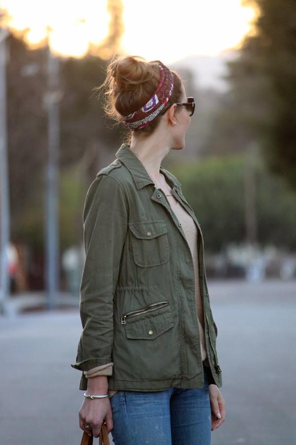 Louis Vuitton silk scarf + fatigue jacket