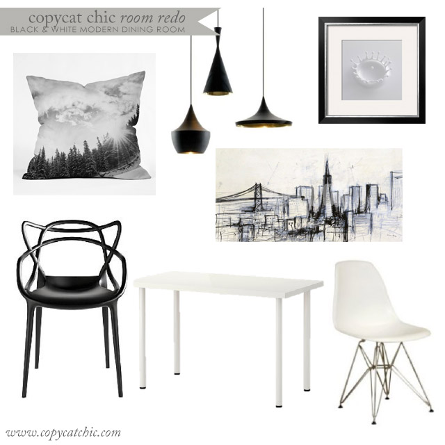 Copy cat chic copy cat chic room redo all black and for Black n white dining rooms
