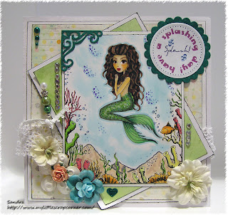 Card making a Mermaid with promarkers