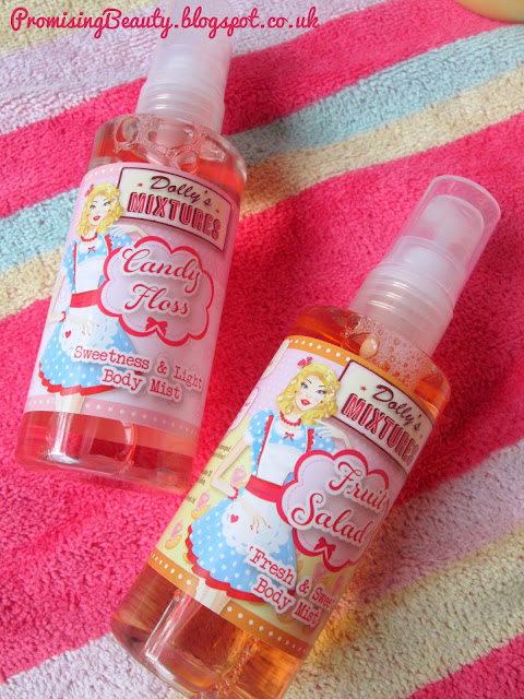 Dollys mixtures body sprays in candy floss (cotton candy) and fruit salad. Sweet, colourful and fruity perfume with vintage packaging.