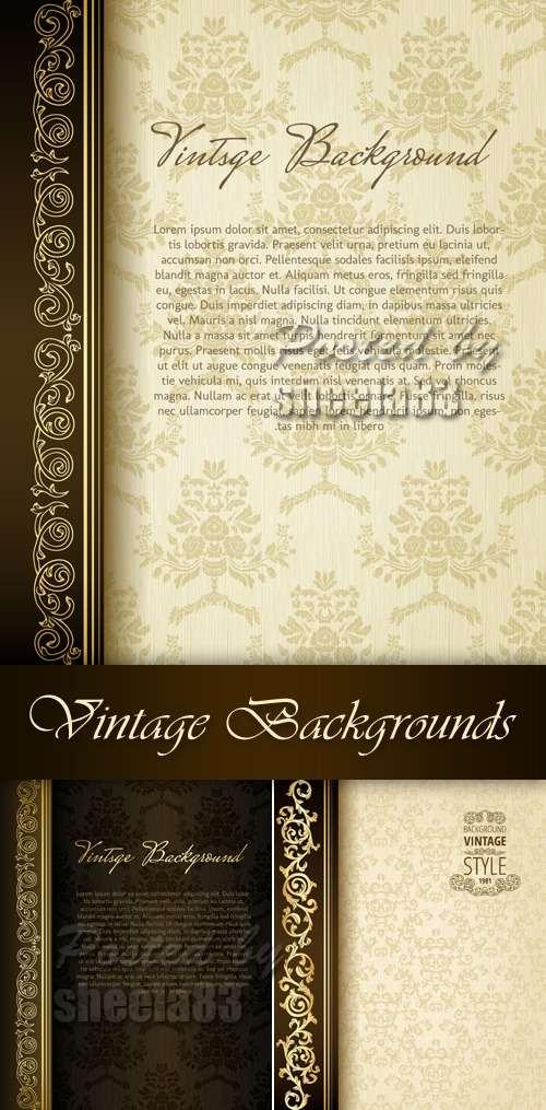 Elegant Vintage Invitations Vector 01