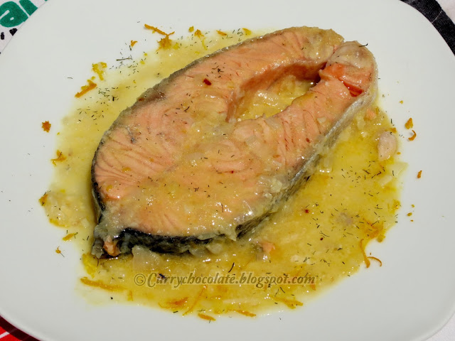 Salmon with orange and lemon sauce