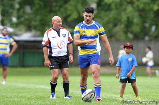With ball: Tianua Poto, Clive, premier rugby, Clive vs Tamatea, first game of the season at Bill Mathewson Park, Hastings. photograph