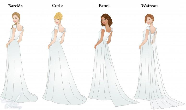 mis vestidos de novia: tipos de cola en vestidos de novia