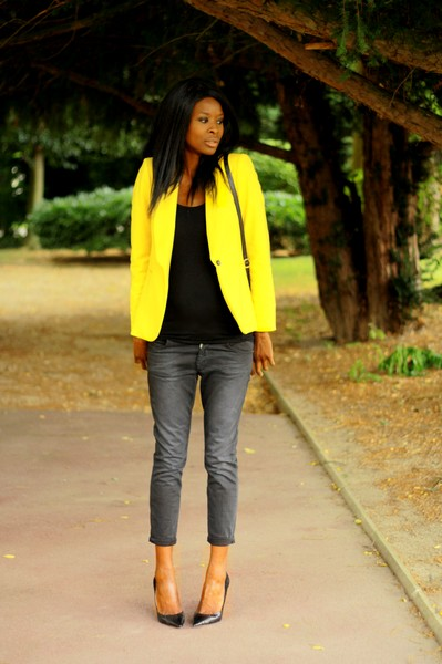 yellow blazer and baggy jeans styles by assitan blog mode french style blogger. Black Bedroom Furniture Sets. Home Design Ideas