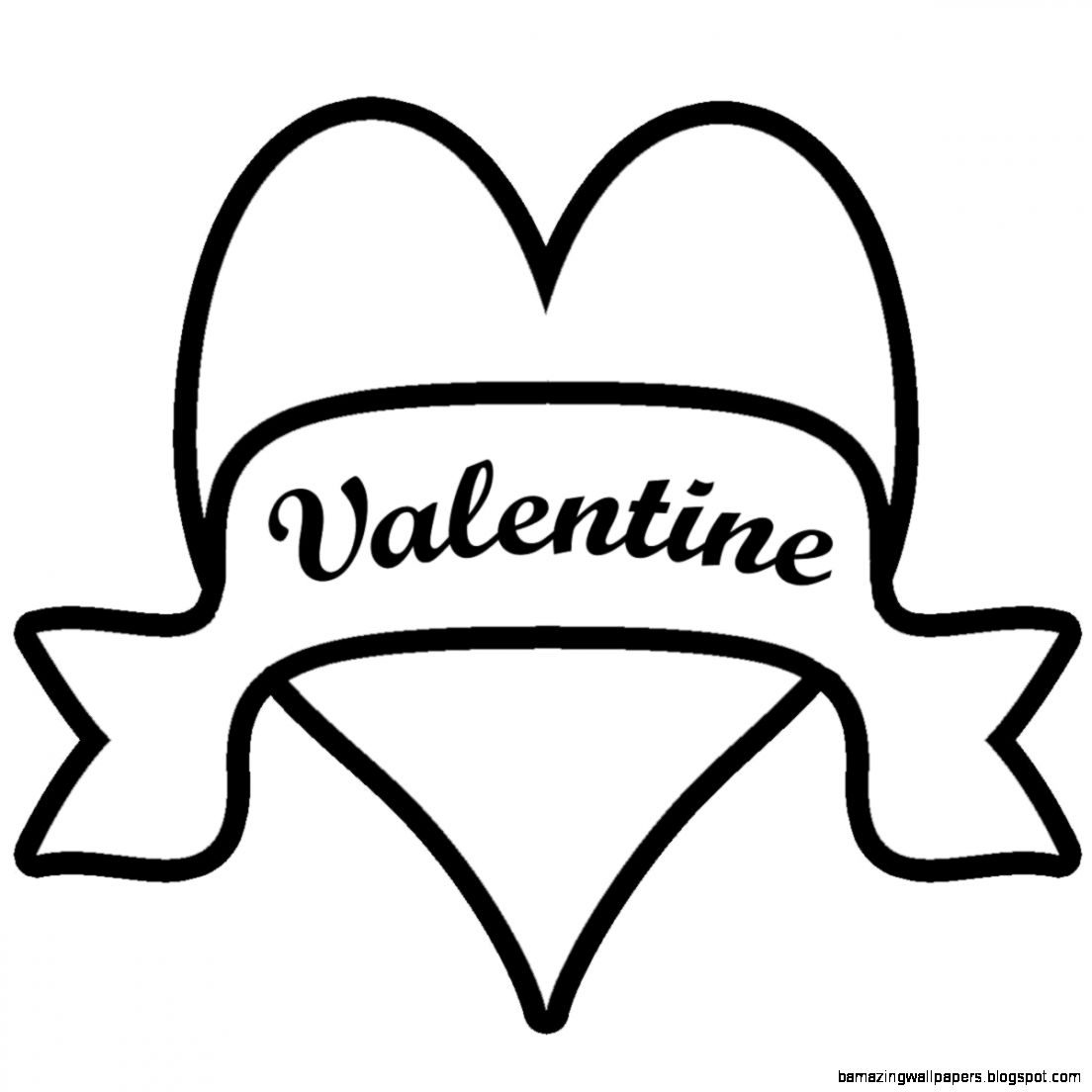 Clip Art Vine Inspired Heart with Happy Valentines Day BW