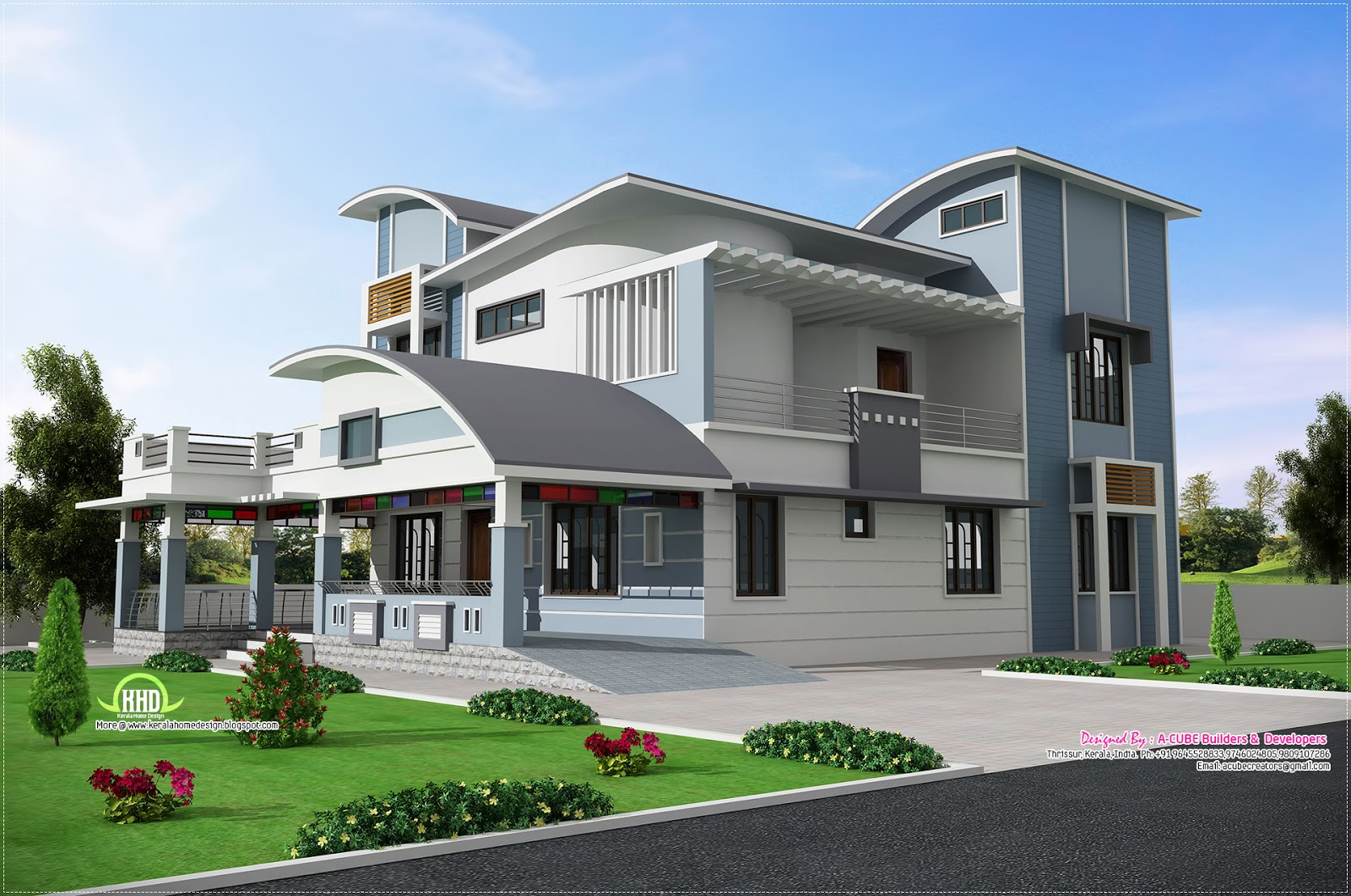 Modern unique style villa design kerala home design and for Modern kerala style house plans with photos