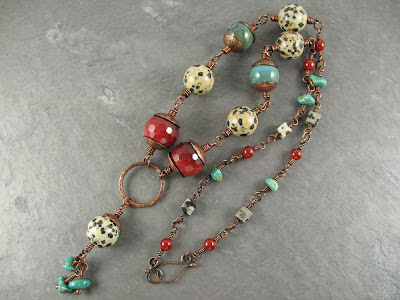 Dalmatian jasper, cranberry quartz, Carnelian, Royston turquoise, & copper long necklace