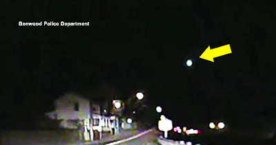 Mysterious Bright, Greenish UFO Caught on Police Cam