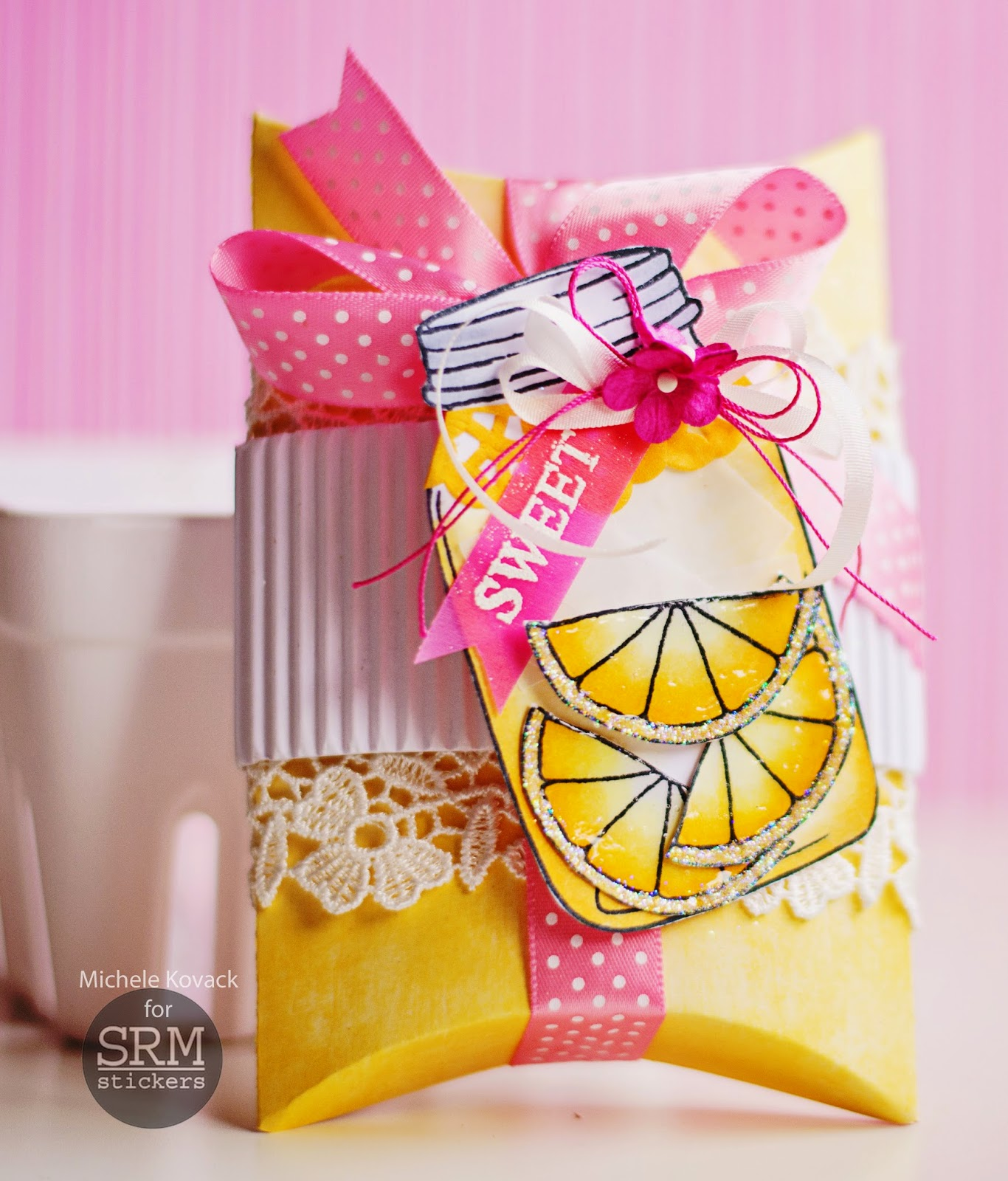 SRM Stickers Blog - Sweet Lemonade by Michele - #pillowbox #kraft #gift #clearstamps #janesdoodles #lifeisgood #DIY