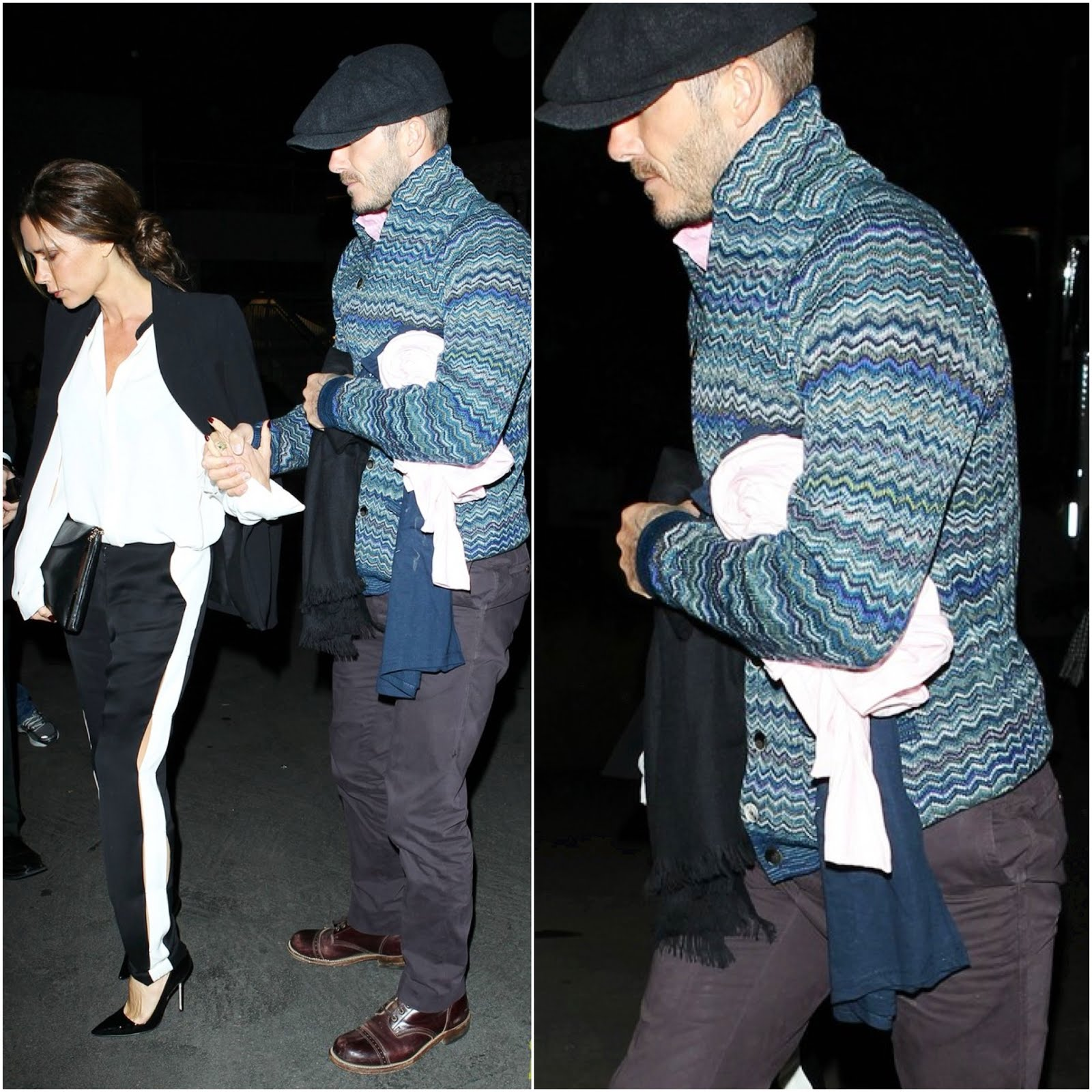 00O00 Menswear Blog London Celebrity Style David Beckham in Missoni Zigzag-Knit Wool-Blend Cardigan at Barbra Streisand concert, Hollywood