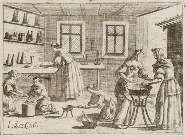 17th century engraving - women preparing fruit preserves in kitchen