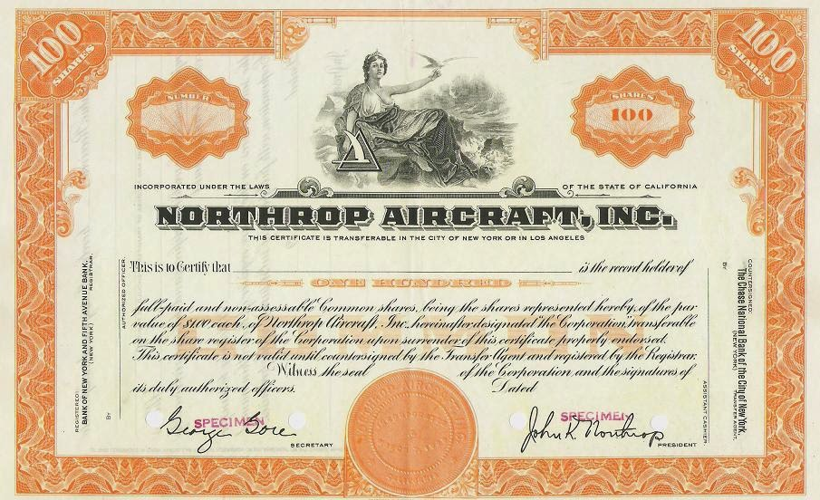 "share certificate with facsimile signature of John Knudsen ""Jack"" Northrop"