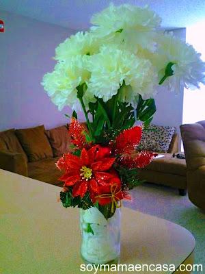 adornos navideños: floreros reciclados