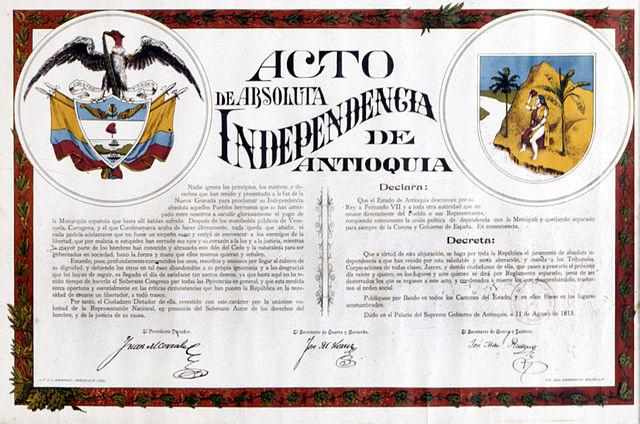 Declaración de Independencia de Antioquia, Acta agosto 11 de 1813.