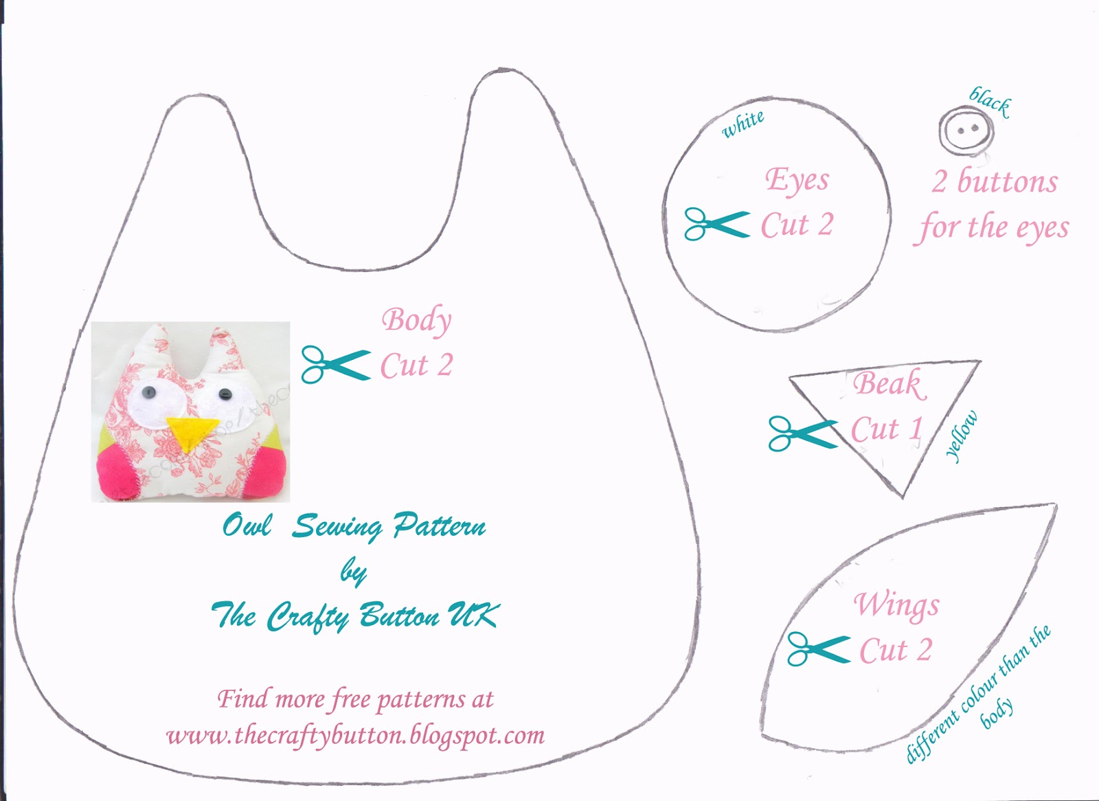 Free printable owl pattern template for Owl templates for sewing
