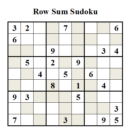 Row Sum Sudoku (Daily Sudoku League #19)