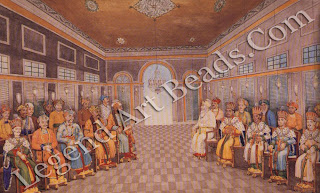 The Nawabs of Oudh were the only successors to the Mughals to declare themselves emperors in their own right, a change indicated in this dynastic portrait by the rulers' switch from bejeweled turbans to Western-style crowns.