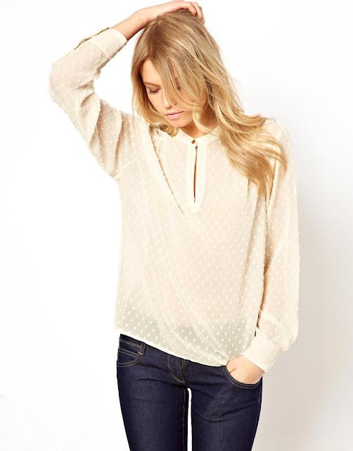 cream spotty blouse
