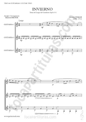 El Invierno Partitura de trío de Guitarra The Winter Sheet Music for three guitars, partitura para tres guitarra