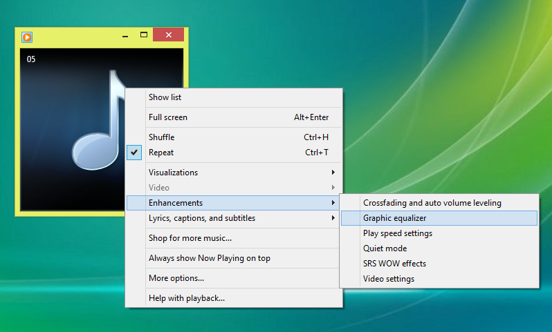 Menampilkan Graphic Equalizer Windows Media Player 2