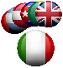 tante bandiere sul fondo e la bandiera italiana in primo piano