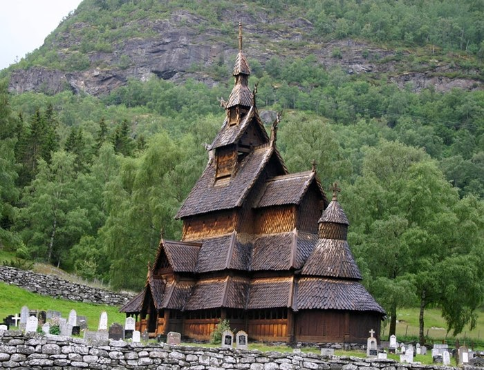 This is one of Norway's stave churches. Stave churches are typically some 8m (26ft) tall made entirely from wood without a single nail. They are the most elaborate type of wooden construction found in northern Europe. Borgund's stave church was built over 800 years ago.
