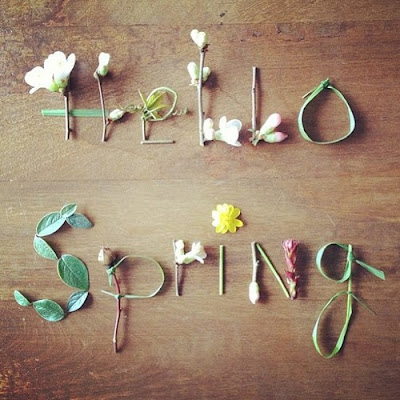 type from real flowers spelling hello spring