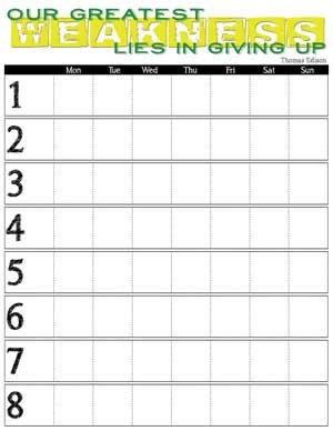 Monday - Sunday 8 Week Printable Training Calendar