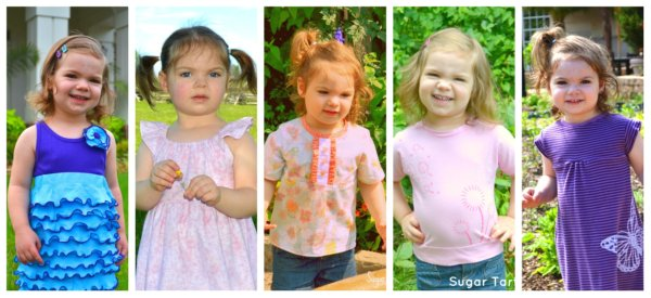 Toddler girl homemade clothes collage