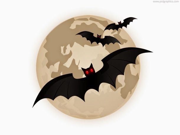 Flying Bats and Moon Icon PSD
