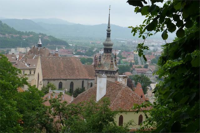 Turnul cu Ceas (Torre del Reloj) vista desde San Nicolas (Biserica din Deal) - Sighişoara