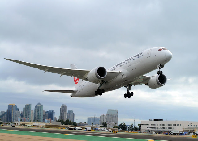 JAL inaugural flight from San Diego to Tokyo Narita took off