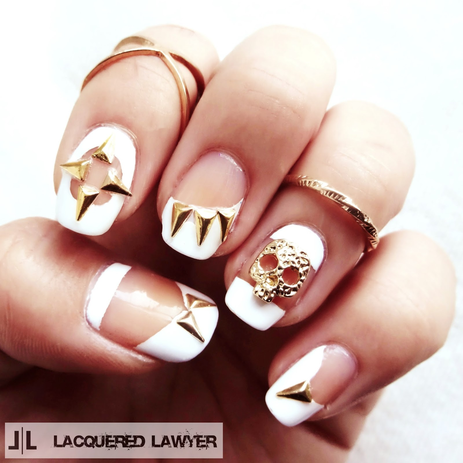 Skulls and Spikes Nail Art