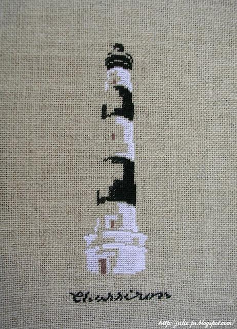 Marie-Thérèse Saint-Aubin, MTSA, Voyage, dans la lumière des phares, le phare de Chassiron, вышивка крестом, маяк, вышивка, point de croix