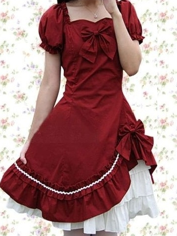 Red and White Bow Classic Lolita Dress
