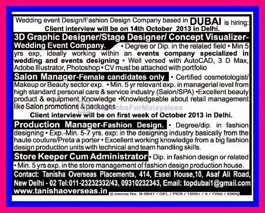 Urgently Required For A Fashion Designer Company Dubai