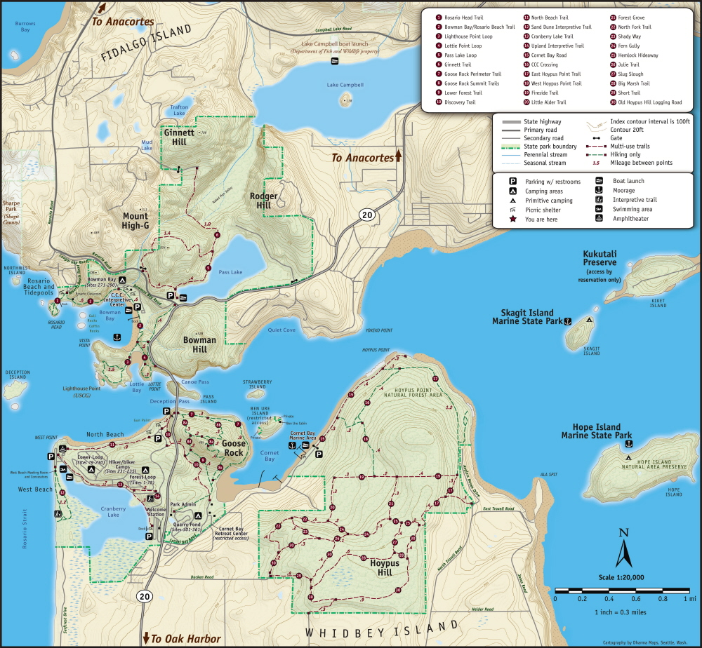 Whidbey Island Hiking Map