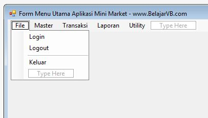 Membuat Form Menu Utama Aplikasi Mini Market VB .Net 2012