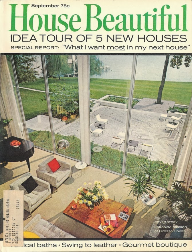 Interior view of the Hawkins Ferry House in Grosse Pointe Shores, MI. (From the Sept 1969 issue of House Beautiful).