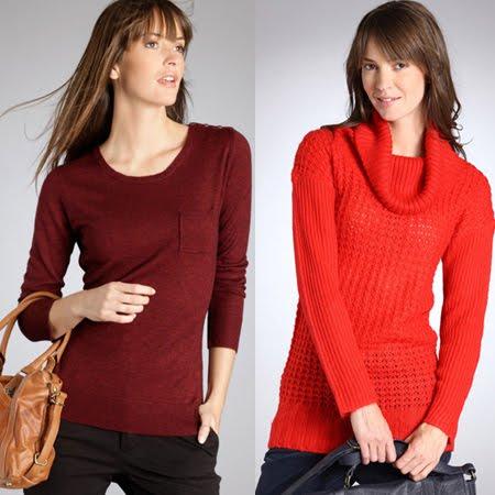 тъмночервен пуловер гладка плетка и червен пуловер с шал яка