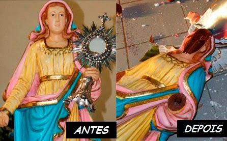 MAIS UMA VEZ IMAGENS DE SANTOS CATÓLICOS SÃO QUEBRADAS POR EVANGÉLICOS