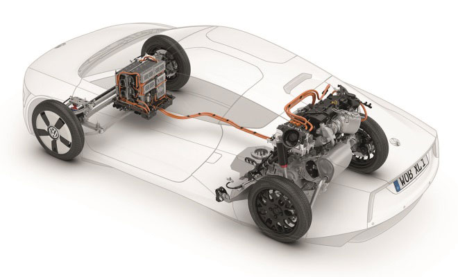 Volkswagen XL1 production car component layout