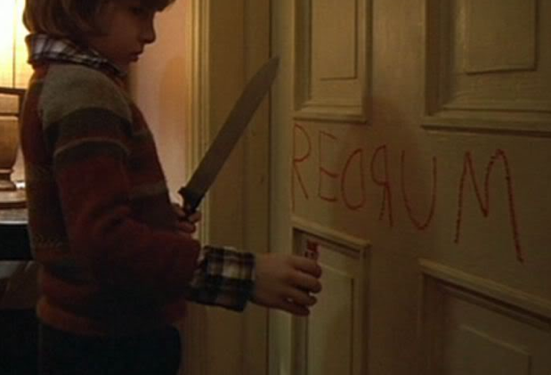 ... the little boy writes u201credrumu201d on a door with the mirror exposing the word u201cmurderu201d. The mirror again reveals the truth and is an object of horror. & Lucy Gibbs A2 Media Blog: The Shining Movie Analysis