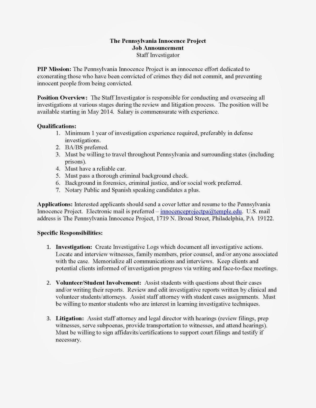 CCJS Undergrad Blog: Pennsylvania Innocence Project- Staff ...
