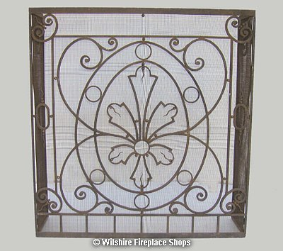 Custom wrought iron fireplace screen modern and antique for Custom wrought iron fireplace screens