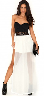 Phillipa Sequin Waistband Bandeau Maxi Black WHite
