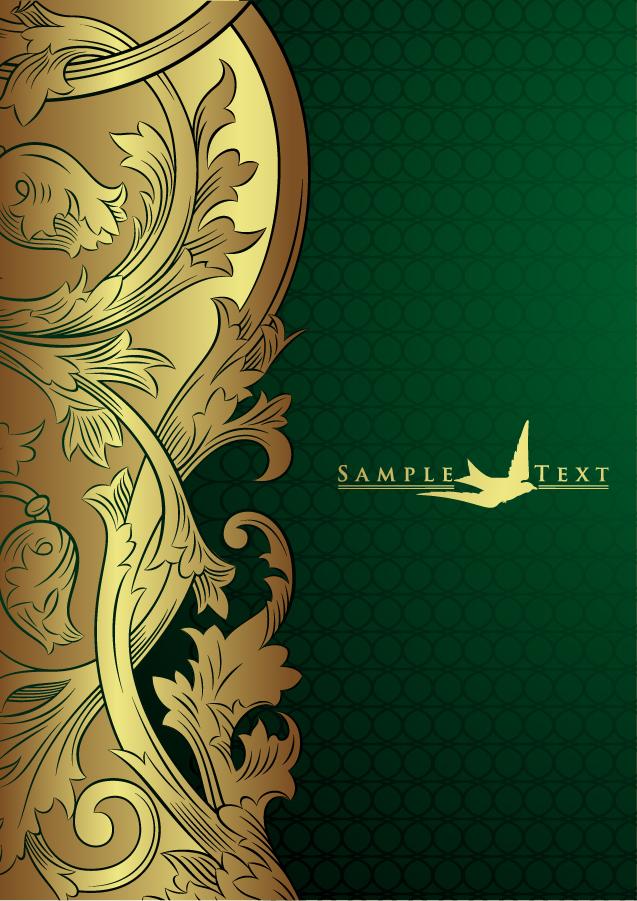 豪華な金色レース飾りの背景 european gorgeous gold lace pattern イラスト素材4