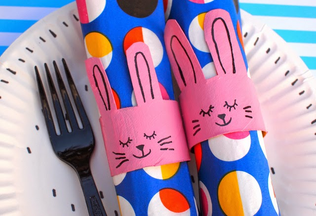 Easter toilet roll napkin bunny ring craft for kids
